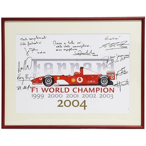 スクーデリア フェラーリ 2004 F1ワールドチャンピオンメモリアル額装ポスター|itazatsu