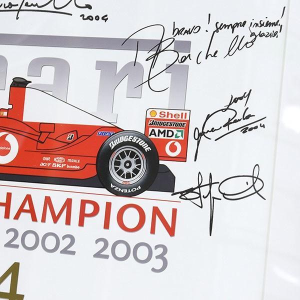 スクーデリア フェラーリ 2004 F1ワールドチャンピオンメモリアル額装ポスター|itazatsu|06