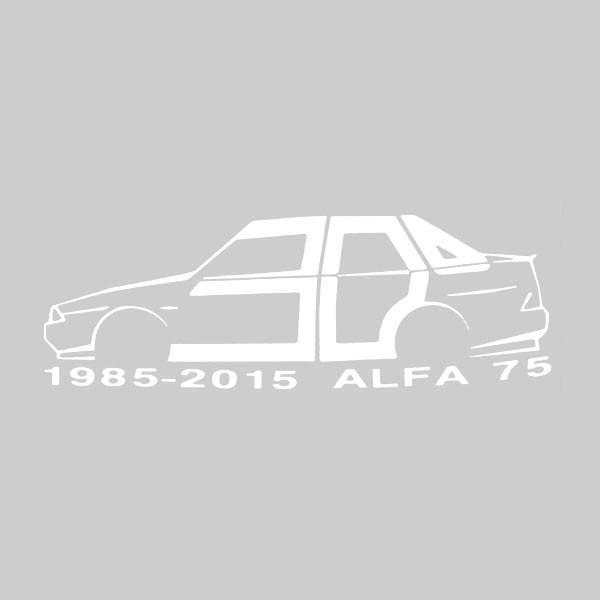アルファロメオ 75 30周年記念ロゴステッカー(ホワイト) by RIA(Registro Italiano Alfa Romeo)|itazatsu