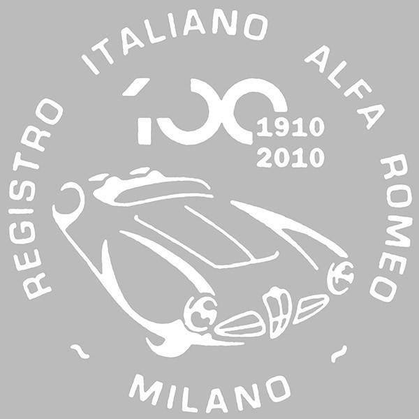 アルファロメオ創立100周年記念ロゴステッカー(ホワイト) by RIA(Registro Italiano Alfa Romeo)|itazatsu
