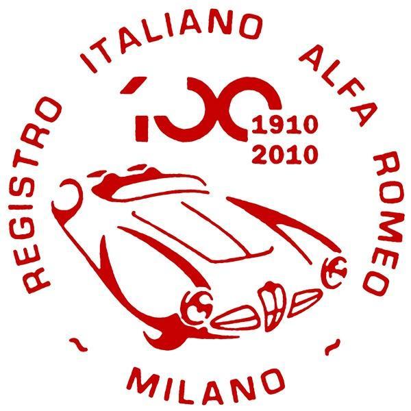 アルファロメオ創立100周年記念ロゴステッカー(レッド) by RIA(Registro Italiano Alfa Romeo)|itazatsu