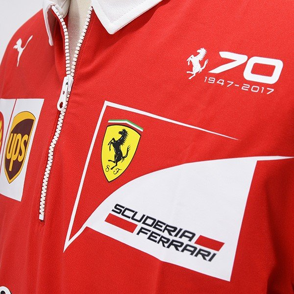 スクーデリア フェラーリ 2017ティームスタッフ用ジップアップポロシャツ-Ferrari 70thロゴタイプ-|itazatsu|05