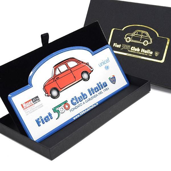 フィアット FIAT 500 CLUB ITALIAラリープレート(ホワイト)|itazatsu