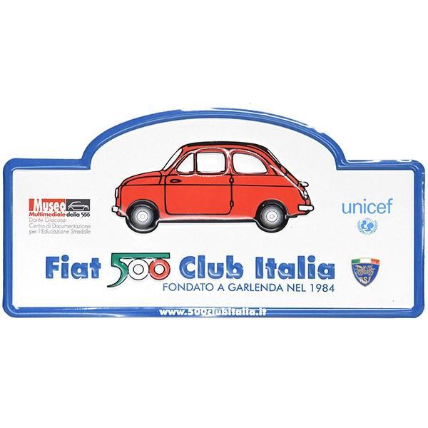 フィアット FIAT 500 CLUB ITALIAラリープレート(ホワイト)|itazatsu|02