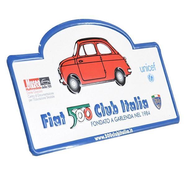フィアット FIAT 500 CLUB ITALIAラリープレート(ホワイト)|itazatsu|03