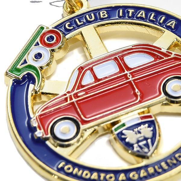 フィアット FIAT 500 CLUB ITALIAエンブレム形バッグチャーム(ブルー)|itazatsu|04