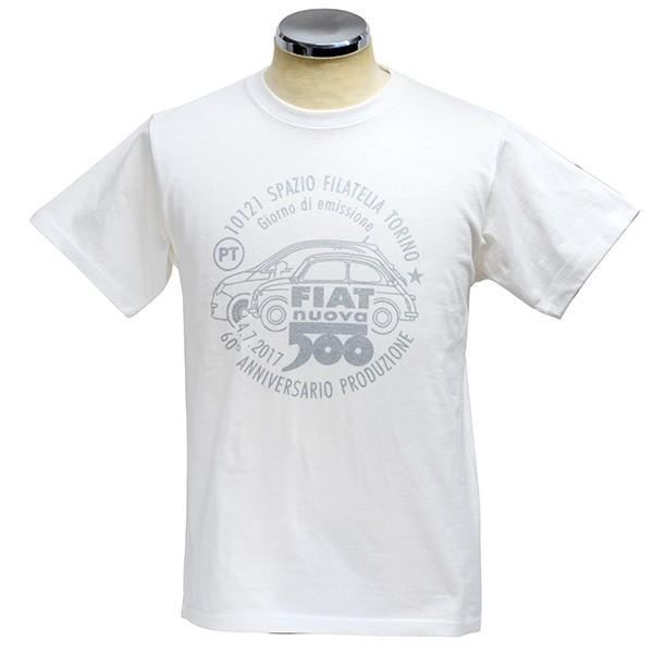 フィアット 500 60周年メモリアルスタンプTシャツ(ホワイト)|itazatsu