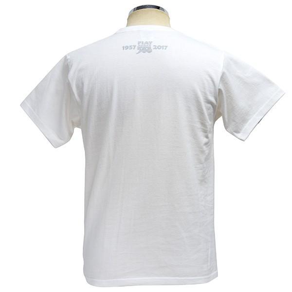 フィアット 500 60周年メモリアルスタンプTシャツ(ホワイト)|itazatsu|02