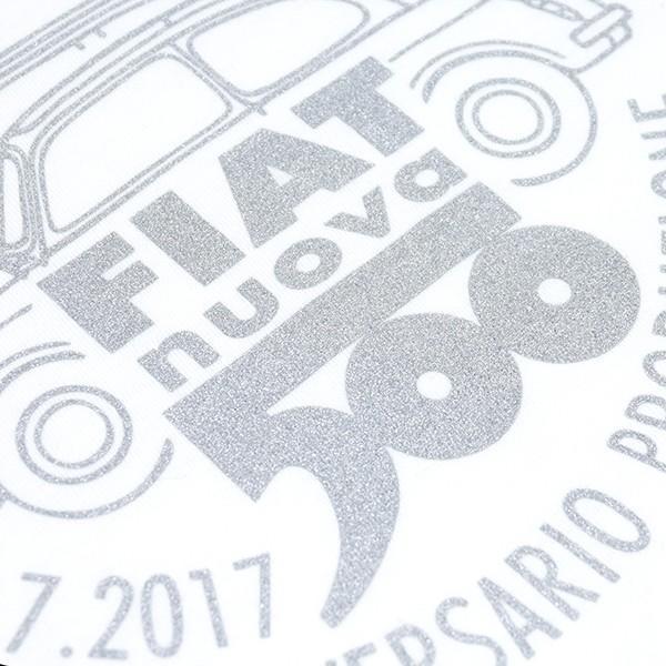 フィアット 500 60周年メモリアルスタンプTシャツ(ホワイト)|itazatsu|04