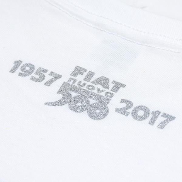 フィアット 500 60周年メモリアルスタンプTシャツ(ホワイト)|itazatsu|05