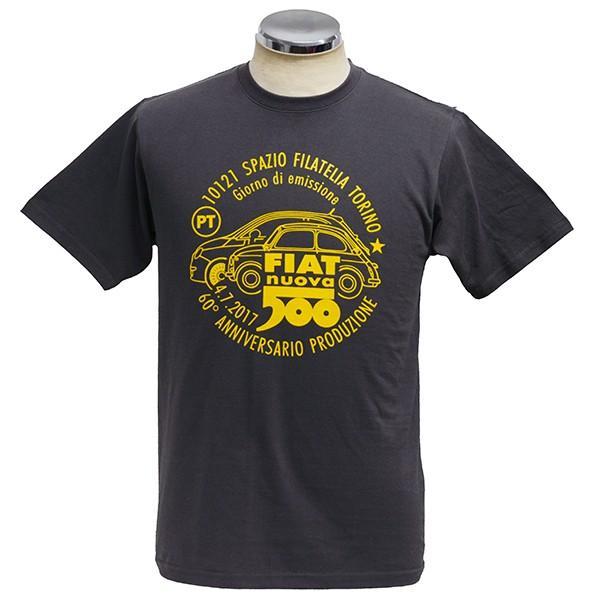 フィアット 500 60周年メモリアルスタンプTシャツ(チャコール)|itazatsu