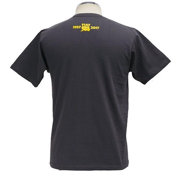 フィアット 500 60周年メモリアルスタンプTシャツ(チャコール)|itazatsu|02