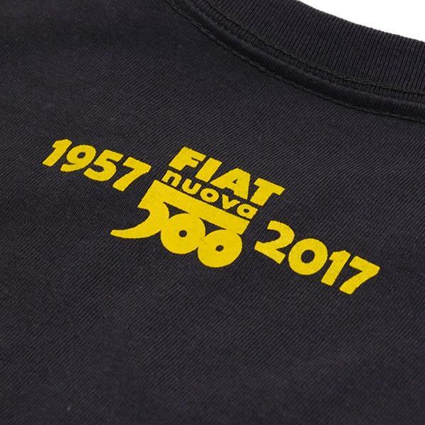 フィアット 500 60周年メモリアルスタンプTシャツ(チャコール)|itazatsu|04