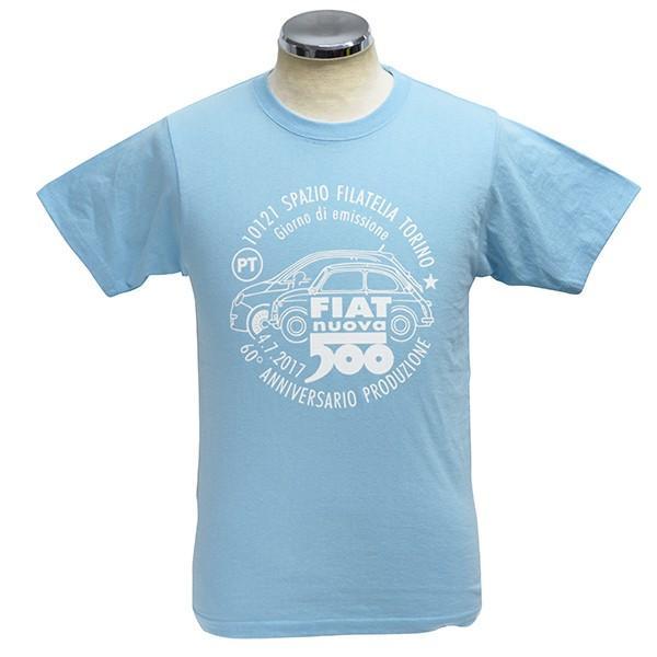 フィアット 500 60周年メモリアルスタンプTシャツ(ライトブルー)|itazatsu