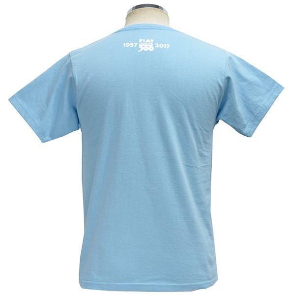 フィアット 500 60周年メモリアルスタンプTシャツ(ライトブルー)|itazatsu|02