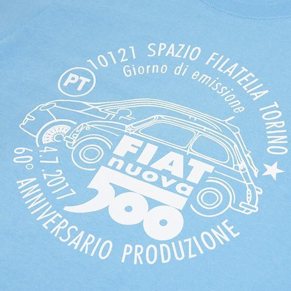 フィアット 500 60周年メモリアルスタンプTシャツ(ライトブルー)|itazatsu|03