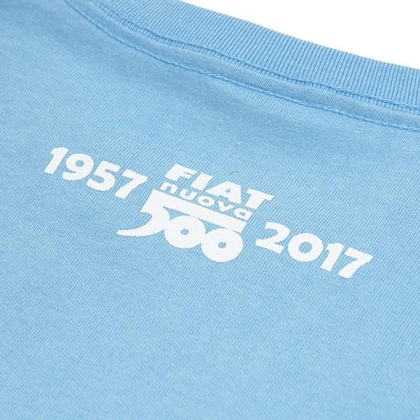 フィアット 500 60周年メモリアルスタンプTシャツ(ライトブルー)|itazatsu|04