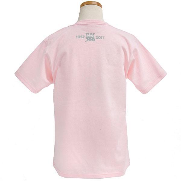 フィアット 500 60周年メモリアルスタンプTシャツ(ピンク)|itazatsu|02