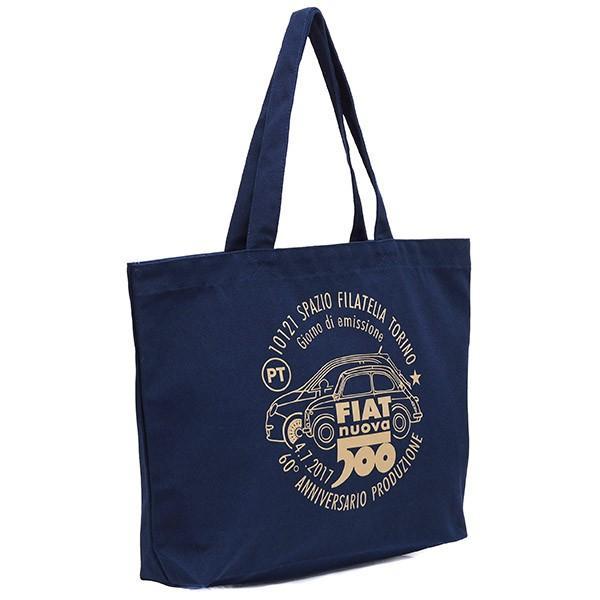 フィアット 500 60周年記念スタンプ柄トートバッグ -ネイビー-|itazatsu|02