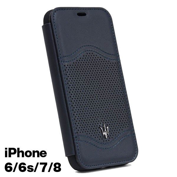 MASERATI純正 iPhone 6/6s/7/8ブックタイプレザーケース-GRANLUSSO/ブルー|itazatsu