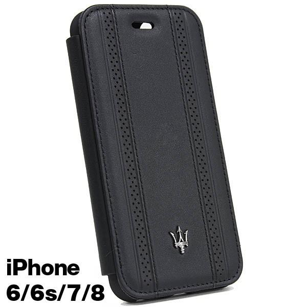 MASERATI純正 iPhone 6/6s/7/8ブックタイプレザーケース-GRANLUSSO/ブラック|itazatsu