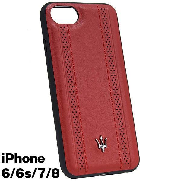 MASERATI純正 iPhone 6/6s/7/8レザー背面ケース-GRANLUSSO/レッド|itazatsu