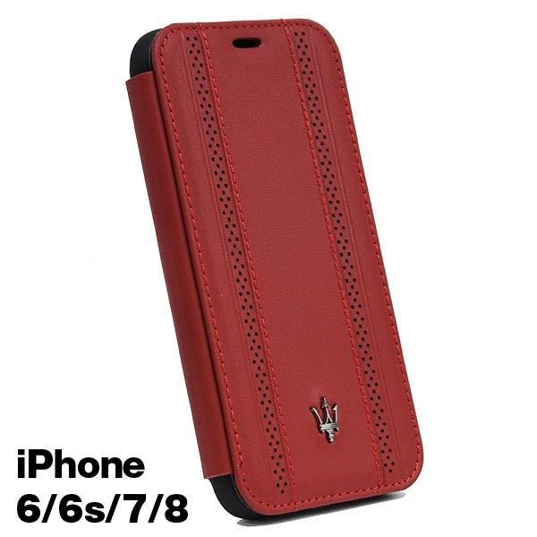 MASERATI純正 iPhone 6/6s/7/8ブックタイプレザーケース-GRANLUSSO/レッド|itazatsu