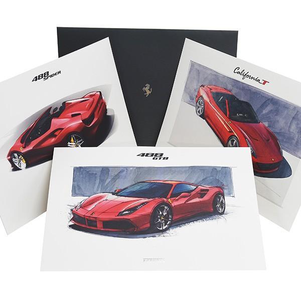 フェラーリ純正 488GTB/488Spider/California-T VIPゲスト記念品リトグラフセット|itazatsu
