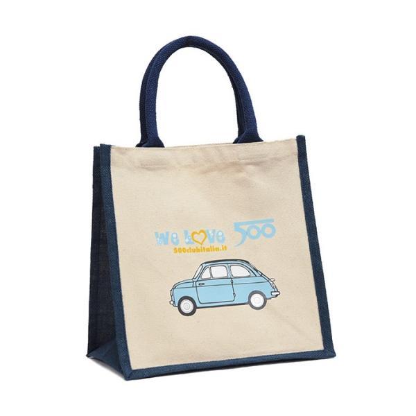 フィアット FIAT 500 CLUB ITALIAトートバッグ(Small/ブルー)|itazatsu