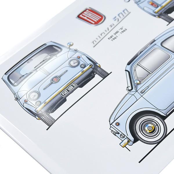 フィアット Nuova 500Dメタルプレート(ブルー)|itazatsu|03