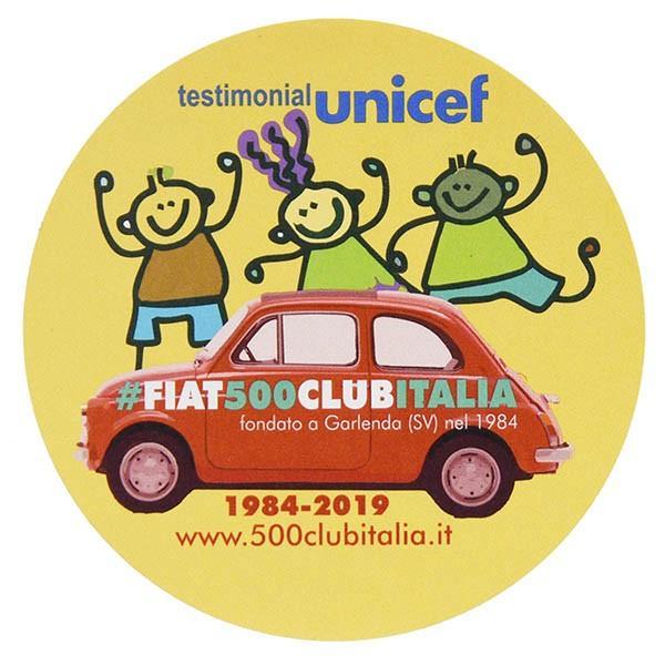 フィアット FIAT 500 CLUB ITALIA UNICEF 2019ステッカー(イエロー)|itazatsu