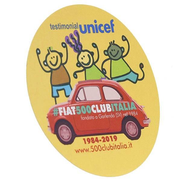 フィアット FIAT 500 CLUB ITALIA UNICEF 2019ステッカー(イエロー)|itazatsu|02