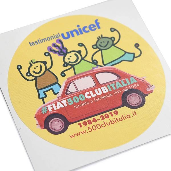 フィアット FIAT 500 CLUB ITALIA UNICEF 2019ステッカー(イエロー)|itazatsu|03