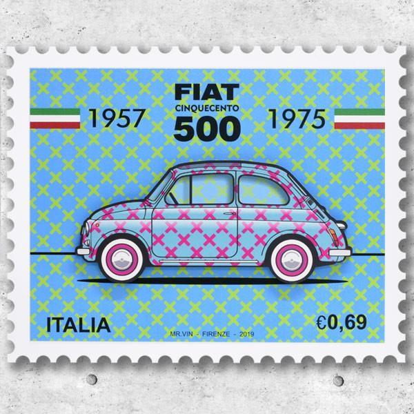フィアット FIAT Nuova 500切手型イラストレーションby Mr.Vin -TRIS- (Large) itazatsu