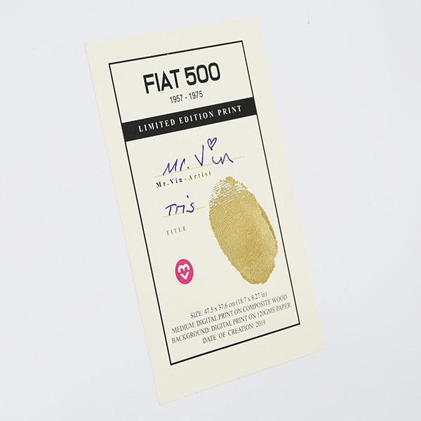フィアット FIAT Nuova 500切手型イラストレーションby Mr.Vin -TRIS- (Large) itazatsu 11