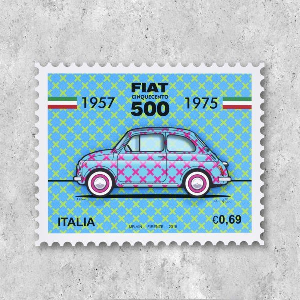 フィアット FIAT Nuova 500切手型イラストレーションby Mr.Vin -TRIS- (Small)|itazatsu
