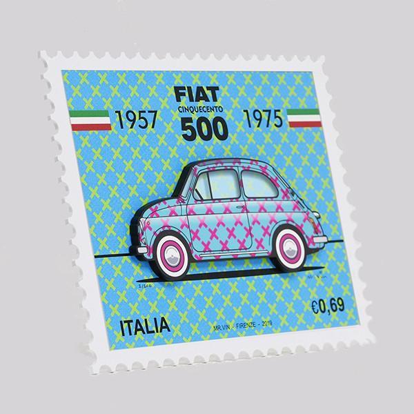 フィアット FIAT Nuova 500切手型イラストレーションby Mr.Vin -TRIS- (Small)|itazatsu|02