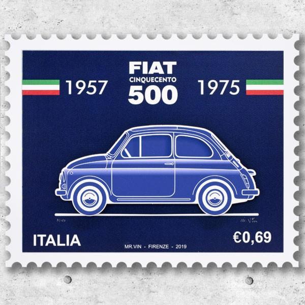 フィアット FIAT Nuova 500切手型イラストレーションby Mr.Vin -BLUEPRINT- (Large) itazatsu
