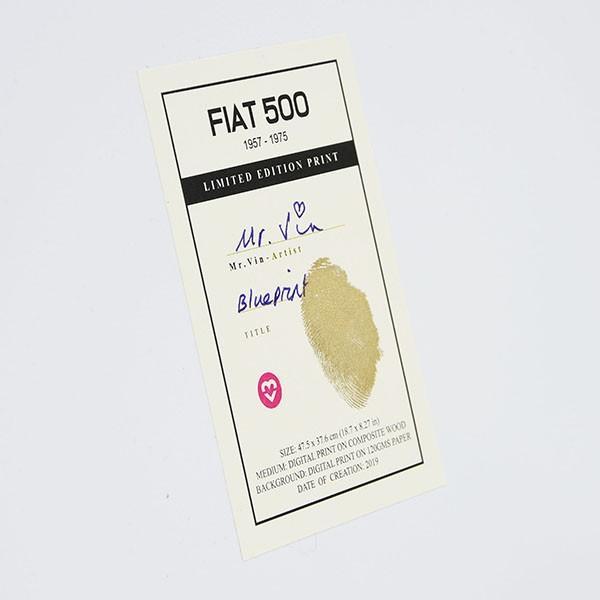 フィアット FIAT Nuova 500切手型イラストレーションby Mr.Vin -BLUEPRINT- (Large) itazatsu 11