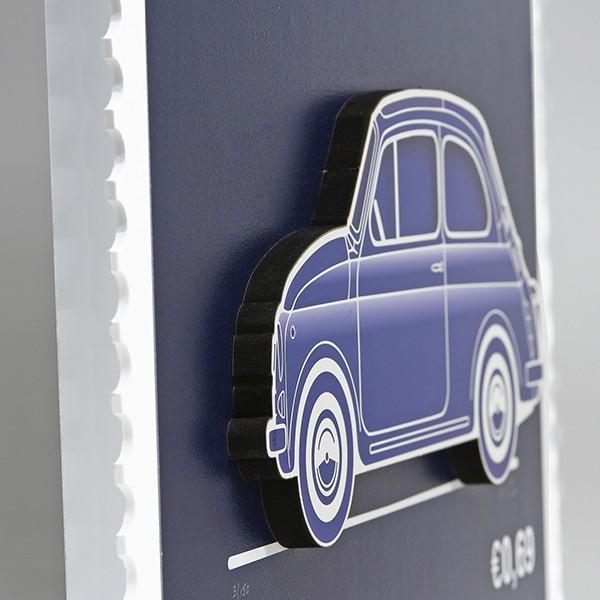 フィアット FIAT Nuova 500切手型イラストレーションby Mr.Vin -BLUEPRINT- (Large) itazatsu 03