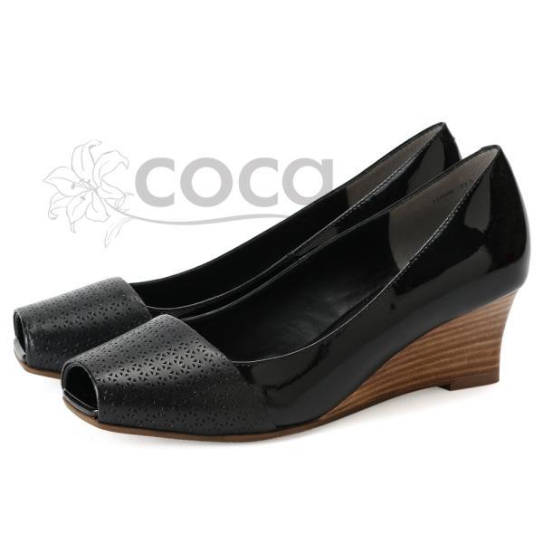 coca / コカ オープントゥ パンプス ウェッジソール 異素材 5.5cmヒール ブラック