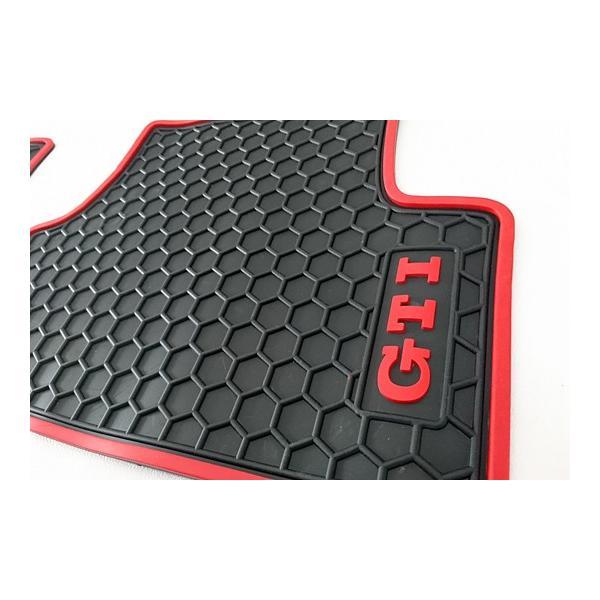GOLF7 ラバーマット 5pcセット(レッドパイプ・GTIロゴ)|itempost|02