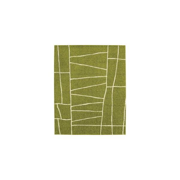 ラグマットカーペット正方形ホットカーペット対応日本製『ジオーニ』ライトグリーン190×190cm