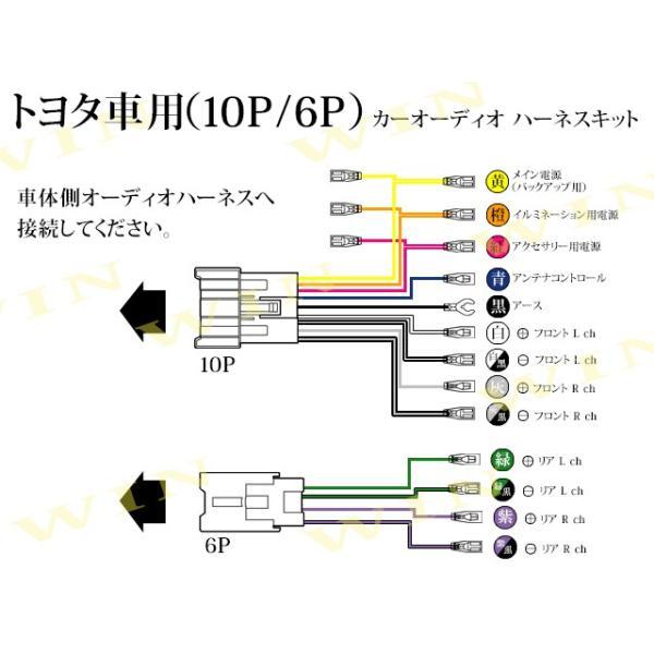 トヨタオーディオハーネス、10P6Pカプラ、アンテナコントロール用変換端子付き 市販のオーディオデッキ取り付けに 《内容:オーディオハーネス10P:1本、オー|itempost|04