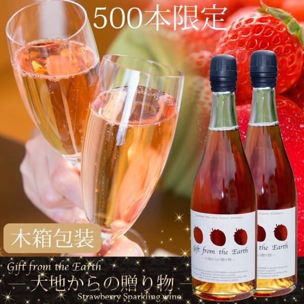 いちごスパークリングワイン 農薬不使用、肥料不使用で栽培したイチゴで作ったスパークリングワイン2本セット【ギフト木箱包装用】 itofarm