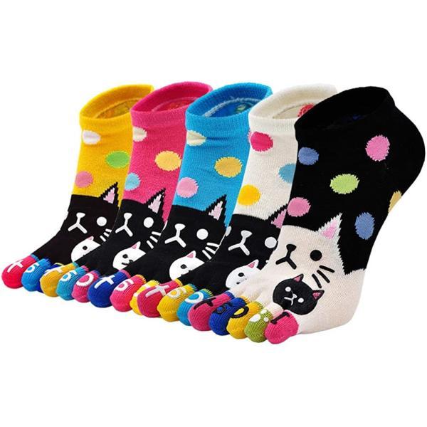 5足セット五本指ソックスレディース柔らかい可愛い猫漫画5つ指靴下ショートソックス個性靴下綿抗菌防臭効果通気性抜群