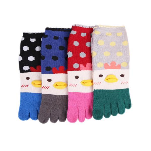 4足セット五本指ソックスレディース柔らかい可愛い猫漫画5つ指靴下ショートソックス個性靴下綿抗菌防臭効果通気性抜群