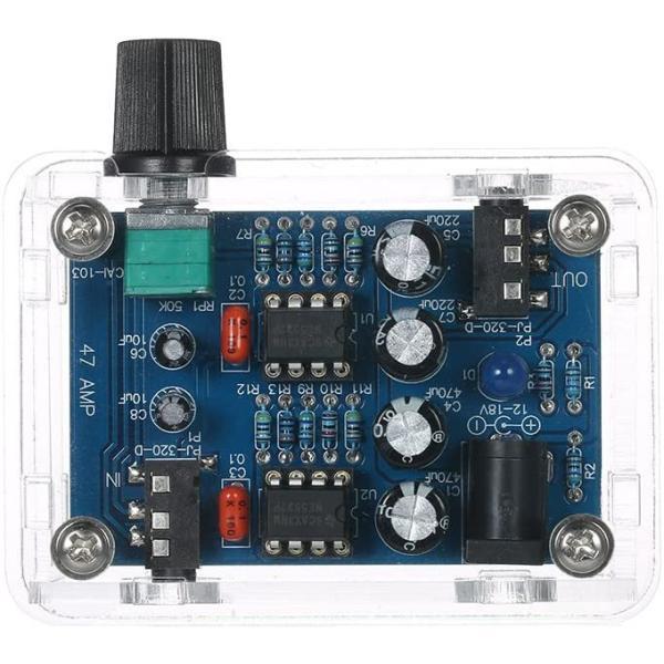 KKmoonNE5532Hi-FiヘッドホンアンプキットDIYキットDC9V-18V47Amp透明ハウジング自作組み立てキット