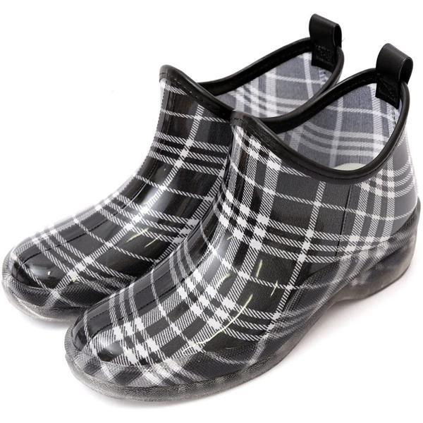 Rina レインシューズレディース婦人長靴雨靴ガーデニングショート丈レインブーツインソール外せる完全防水(L(24-24.5
