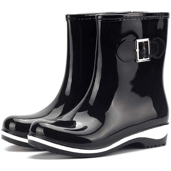 SaphiRose レインシューズレディース防水無地ショート丈レインブーツ雨靴滑り止め通勤通学梅雨対策
